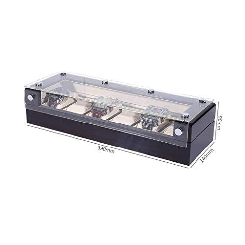 Caja de reloj organizador para hombres de madera con tapa de cristal organizador negro regalo / 6