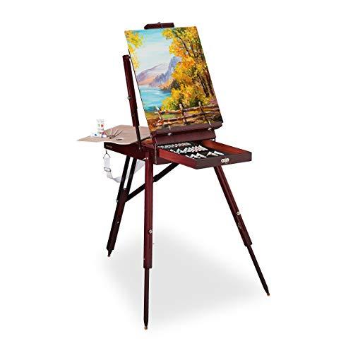 Relaxdays Kofferstaffelei Holz, 35-TLG, inkl. Pinsel Set, Mischpalette, Leinwand, Wasser, Öl-und Acrylfarben, braun, 1 Stück