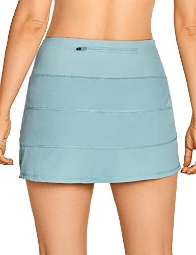 CRZ YOGA Women's Active Lightweight Athletic Short Skirts Running Tennis Golf Workout Sports Skorts with Pockets Light Grayish Blue Medium