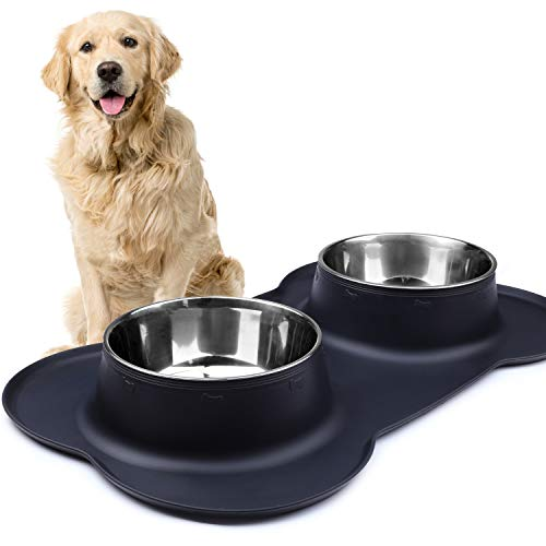 Vivaglory Dog Bowls Extra Large Stainless Steel Water and Food Bowl Pet Cat Feeder with Non Spill Skid Resistant Silicone Mat, Black