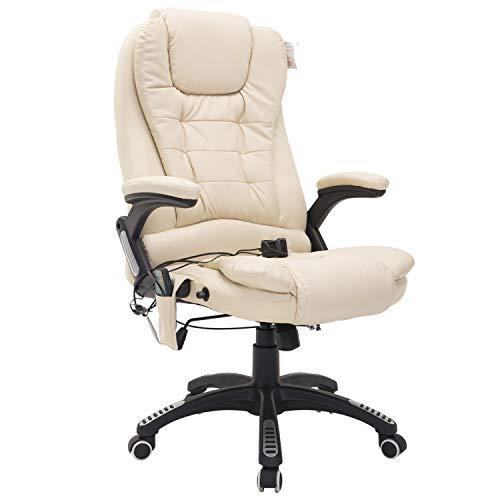HOMCOM Poltrona Sedia Massaggiante da Ufficio Con Riscaldamento Ecopelle 62 x 68 x 111-121cm Beige