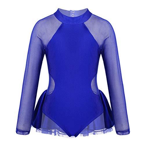 inlzdz Maillot de Patinaje Artística sobre Hielo para Niña Brillantes Vestido de Danza Ballet Manga Larga Gimnasia Rítmica Disfraz de Bailarina Actuación Azul 3 12 años