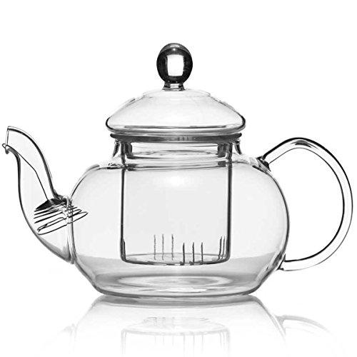 Dimono Teiera soffiata a Bocca con Filtro da tè e Filtro per tè Caraffa con Inserto filtrante in Vetro 600 ml Perfetta per i Fiori di tè