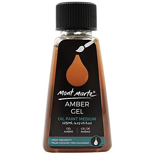 Mont Marte Premium Amber Gel, 4.2oz (125ml), Oil Paint Medium, Increases Translucency