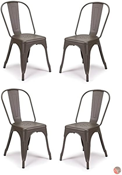 Set Of 4 Tolix Style Metal Chairs Cooper Matte Espresso Vintage Style Sturdy Stack Able Chairs Perfect For Dining Area Bistro Cafe Restaurant Patio Indoor And Outdoor Use