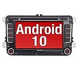 PUMPKIN Android 10 Autoradio für VW Radio mit Navi Unterstützt Bluetooth DAB + CD DVD Android Auto WiFi 4G USB MicroSD 7 Zoll Bildschirm