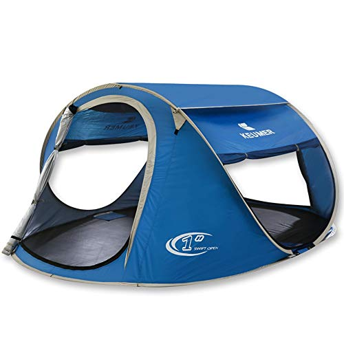 GFBVC Camping Tent Automatic Instant Pop Up 3-4 Persons Family Camping Tent Portable Waterproof Tent (Color : Blue, Size : One Size)