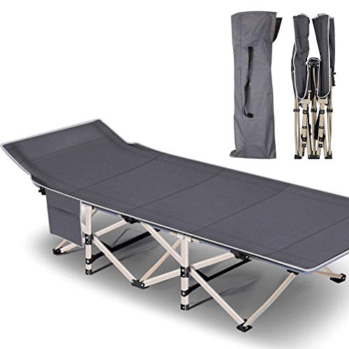 NAIZEA Folding Camping Bed Camping Cots for Adults, Heavy Duty Lightweight Portable Foldable Outdoor Bed with Carry Bag, Military Cot for Camping Outdoors Office Use (Grey Without Mat)