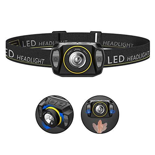 Stirnlampe LED, Zoombar Sensor Kopflampe, Superheller Leichtgewichts USB Wiederaufladbare Wasserdicht Stirnleuchte für Camping, Fischen, Laufen, Joggen, Wandern, Lesen, Arbeiten