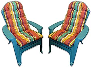 RSH Décor Set of 2 Outdoor Tufted Adirondack Chair Cushion - Bright Colorful Stripe