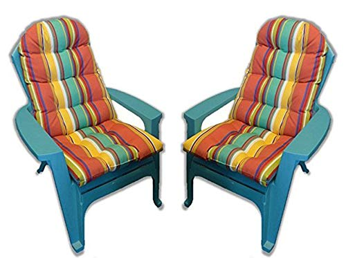RSH Décor Indoor Outdoor Tufted Adirondack Patio Chair Seat Pillow Cushion - Bright Colorful Stripe
