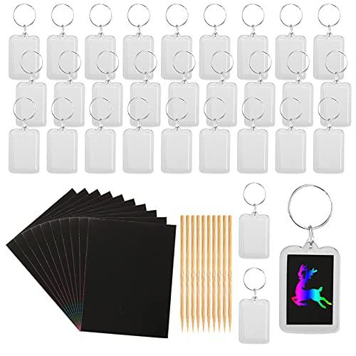 TSLBW Scratch Art Schlüsselanhänger, 50 Stück DIY Schlüsselanhänger-Bastelset mit 10 Stiften für Kinder Zum Dekorieren In KunsthandwerksaktivitäTen