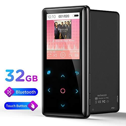 Lettore MP3 Bluetooth 32GB, Hi-Fi Lossless Sound Lettore Musicale Digitale con Pulsante a Sfioramento, Modalità Di Luce Respiro, Cuffia FM Radio, Registatore Vocale, Supporto fino a 128 GB