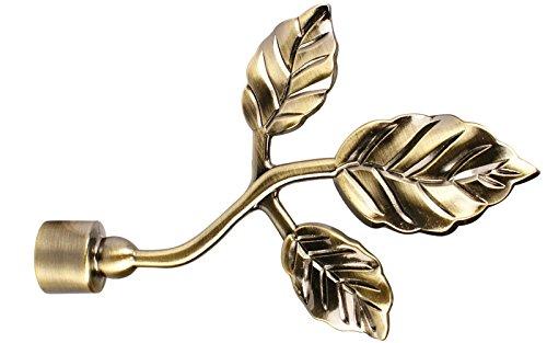 iso-design Gardinenstangen Endstück Blatt aus Metall für 16 mm Durchmesser, Messing Antik