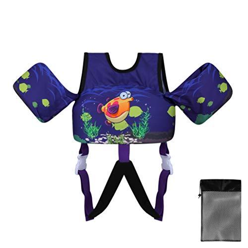 TOAUXUNG Chaleco de Natación para Niños con Hebilla Ajustable, Manguitos de Agua de Entrenamiento de Natación de 2 a 6 Años, 10-30kg (Pez Burbuja)