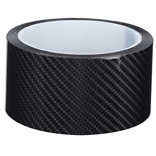 ROSEBEAR Autocollant Voiture Stickers Fibre de Carbone Film Adhésif Vinyle Auto à l'eau sans Bulle Imperméable Moto Véhicule Noir 5CM*3M
