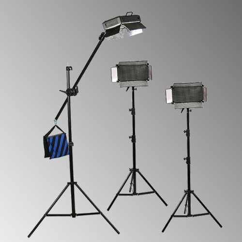 ePhoto 2200 Adjustable Light Output 2 Light Panels 2 x 1100 Each Fluorescent Continuous Photo Studio Video Photography Light Panel with Barndoor Lighting Light Stand Kit FL455Panel
