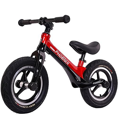 GASLIKE Bicicleta de Equilibrio para niños y niñas de 2 a 6 años, Bicicleta de Equilibrio de 12 Pulgadas, Altura Recomendada 85-125 cm, sillín Ajustable, Carga máxima 90 kg,Black Red
