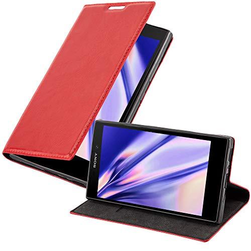 Cadorabo Hülle für Sony Xperia L2 - Hülle in Apfel ROT – Handyhülle mit Magnetverschluss, Standfunktion & Kartenfach - Case Cover Schutzhülle Etui Tasche Book Klapp Style
