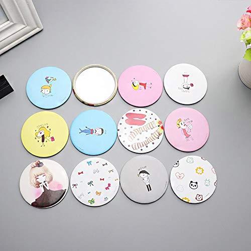 Jenfen Portable filles dames belle bande dessinée mignonne main poche miroir cosmétique miroir rond mini miroir de maquillage (couleur: couleur aléatoire)