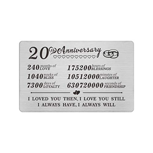 20 Year 20th Wedding Anniversary Card Gifts Engraved Wallet Inserts Decorations for Men Her Him Wife Husband Women Couples