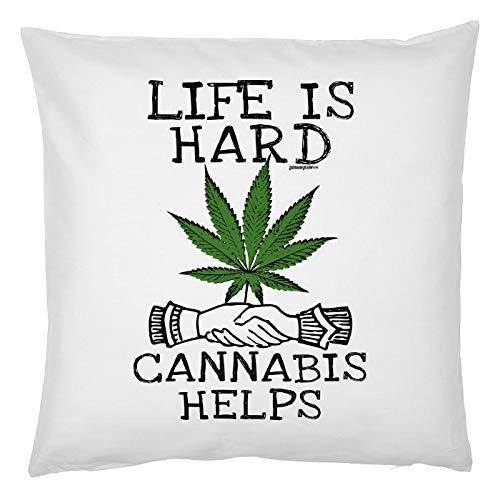 Tini -Shirts Cannabis Sprüche Kissen - Deko-Kissen Marihuana : Live is Hard Cannabis Helps - Kiffer Geschenk-Kissen Hanf/Weed - Kissen ohne Füllung - Farbe: Weiss
