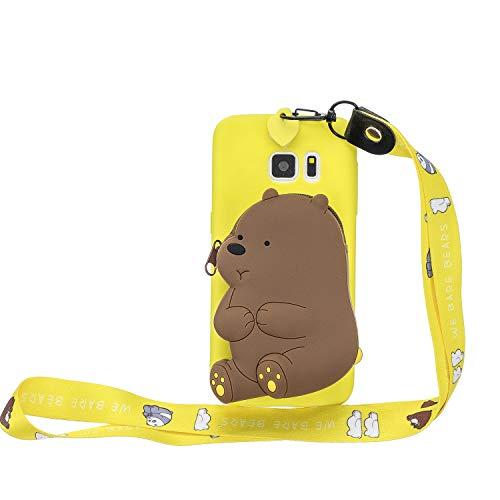 WIWJ Hülle für Samsung Galaxy S7 Edge HandyHülle Ultra Dünn Silikon Necklace Tiere Case[Wallet] mit Kordel Schutzhülle 360 Stoßfest Wasserdicht mit Band Mädchen Tasche Handykette-Gelber Bär