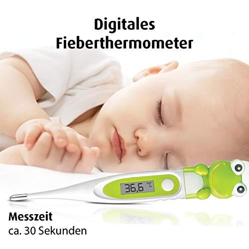 reer 9808 Digitales Fieber-Thermometer fürs Baby, flexible Spitze, mit süßem Frosch-Motiv
