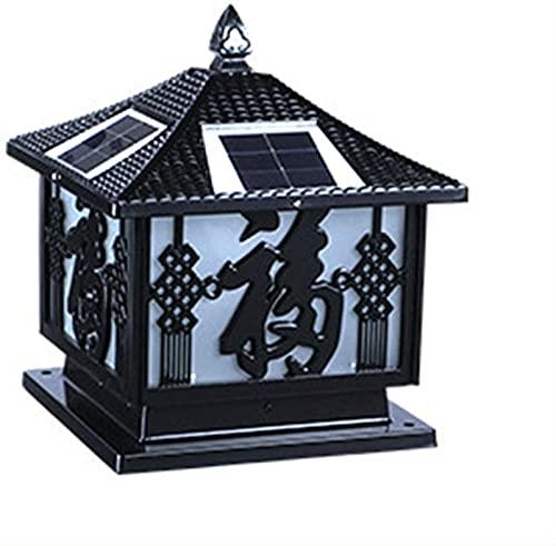 Iluminación solar impermeable de la tapa del poste, lámpara de poste de aluminio antigua de la luz del jardín de la vendimia al aire libre, lámpara decorativa del poste del poste del jardín de...