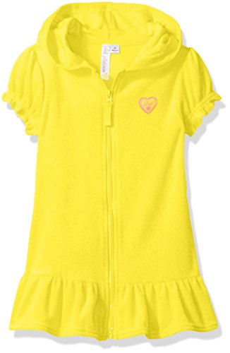 Pink Platinum Girls' Toddler Hooded Terry Swim Cover Up, Lemon, 2T