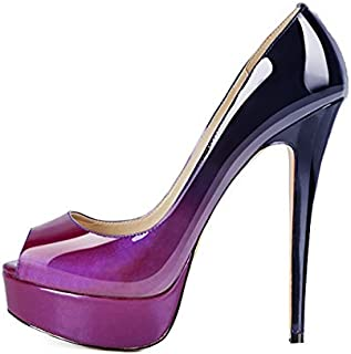 fda1a5ae9 Onlymaker Women's Sexy High Heels Peep Toe Slip On Platform Pumps Stiletto  Dress Party Wedding Shoes