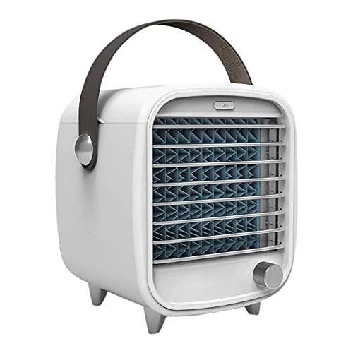 JKIOOOW aire acondicionado portátil LED Mini enfriador de aire pequeño ventilador de refrigeración con luz nocturna, ventilador de refrigeración de escritorio USB Caja de hielo incorporada