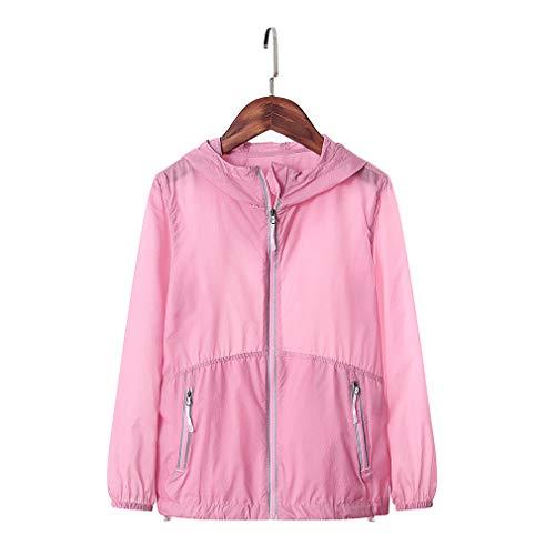 CIKRILAN Children Ultra-Thin Lightweight Summer Sun Protection Anti-UV Jacket Coat Boys Girls Outdoor Quick Dry Hoodie(3XL,Pink)