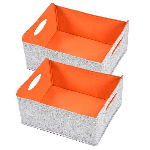 Nati – Juego de 2 cestas de almacenamiento de fieltro plegables con asa, organizador para libros de juguetes, cestas para estanterías, color naranja 30 x 24 x 14,5 cm