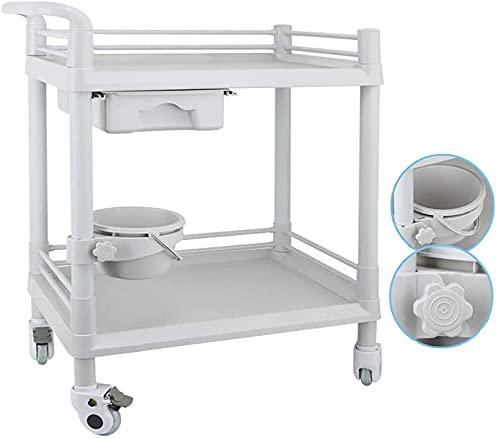 Utility Rolling Cart Coffring Island Trolley Sirviendo Carrera de almacenamiento Carrito Movible Beauty Salon Trolle Trolley Carro con un cubo de suciedad ajustable, herramienta médica de la rueda uni