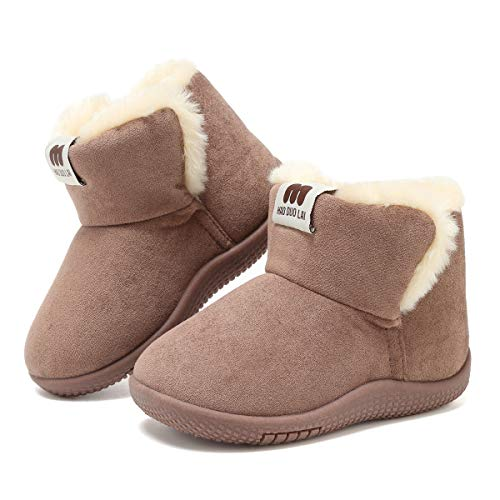 KEESKY Boots for Toddler Boy Size 4.5 Chestnut Suede Fur Lined Winter Warm Kids Footwear Shoes