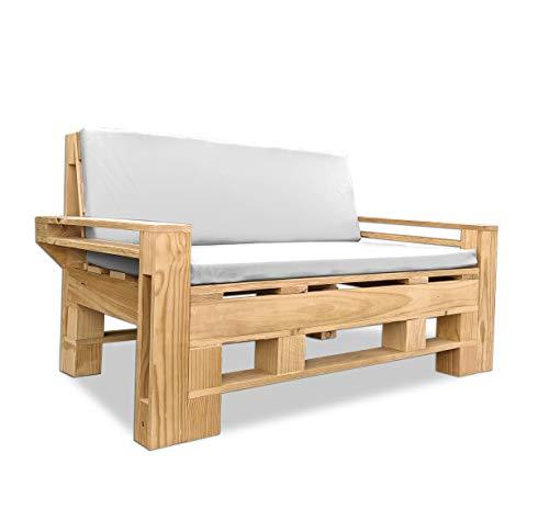 Sofá Palet Exterior/Interior Cepillado, Lijado y Pintado + colchonetas. Medida: 140x80 Brazos incluidos