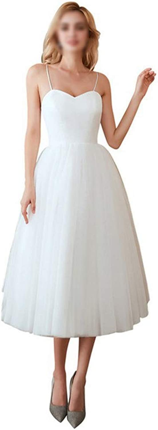 Sububblepper Women's Simple Sling Sleveless Mesh Dress Wedding Party Cocktail Dress Formal Occassion (color   White, Size   US12)