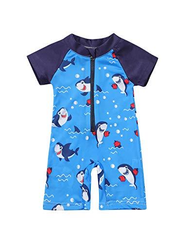 Toddler Kids Baby Boy Swimsuit Short Sleeve Bathing Suit Shark Pattern One Piece Swimwear Summer 2-3T