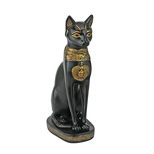Design Toscano Egyptian Cat Goddess Bastet with Earrings Statue in Matte Black
