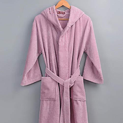 ASADVE Hotel camisón de Invierno Albornoces para Hombres y Mujeres Toallas Gruesas Pijamas Largos cálidos Pareja Batas de Dama de Honor de Boda-Piel de Naranja roja_L