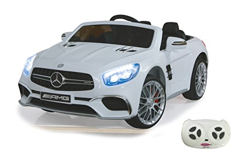 RC Auto kaufen Kinderauto Bild: Jamara 460296 Ride-on Mercedes SL65 weiß 12V – Softanlauf, 2-Gang, Stoßdämpfer, SD-Slot, AUX-und USB-Anschluss, LED, Hupe, bis zu 90 Min. Fahrzeit, Ultra-Gripp Gummiring*