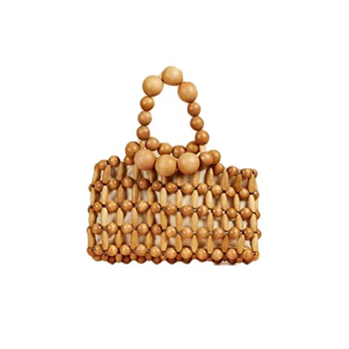 XIXIAO Retro Bamboo Woven Bag Beach Bag for Ladies Weekender Travel