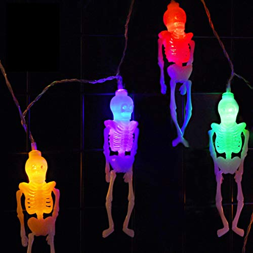 Skeleton Lights Halloween String Lights - 10Ft 20LEDs Skeletons Halloween Lights Decoration, 2 Lighting Modes Battery-Powered String Lights, Spooky Halloween Lights for Party Patio Indoor Outdoor