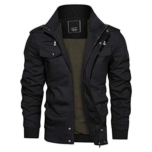 CRYSULLY Men's Autumn Winter Cotton Military Jacket Classic Thermal Cargo Jacket Bomber Coat Black