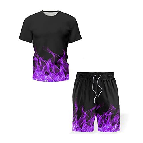 KFMB Herren 3DT Shirt Set Sport Wind Up Flame Down Flame Printed Hot Pants Ropa Deportiva Kurzarm Zweiteiliges Set (S,4)