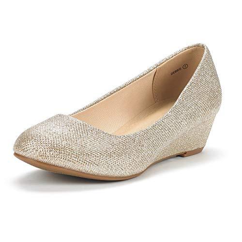 DREAM PAIRS Women's Debbie Gold Glitter Mid Wedge Heel Pump Shoes - 9.5 M US