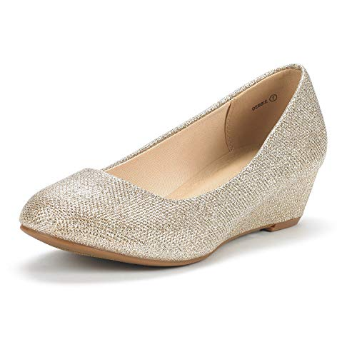DREAM PAIRS Women's Debbie Gold Glitter Mid Wedge Heel Pump Shoes - 7.5 M US