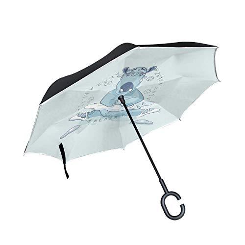 MNSRUU Umkehr-Regenschirm Ballerina Nilpferd sitzend auf Splits und Weinen umgekehrte Regenschirme doppellagig Winddicht Regenschirm für Auto Regen Outdoor mit C-förmigem Griff