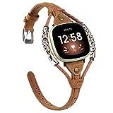 Glebo Compatible con pulsera Versa 3 / Sense para mujer, vintage, de piel, accesorio compatible con reloj inteligente Versa 3/Sense, color marrón oscuro
